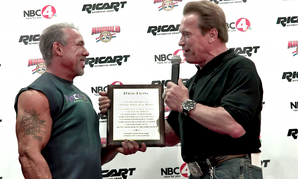 David Lyons & Arnold Schwarzenegger Lifetime Achievement Award at the Arnold Expo Columbus Ohio